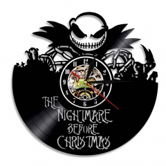 The Nightmare Before Christmas Wall Clock Jack Skellington and Sally Wall Art Decor Vinyl Record Clock Cartoon Vintage Clock