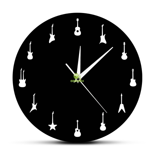 Guitar Wall Clock Different Types Of Guitars Wall Decor Music Band Room Hanging Wall Art Clock Rock n Roll Guitarist Clock Gift