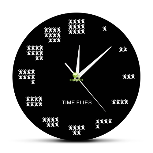 Pun of The Day Wall Art Time Flies Pests Wall Clock Contemporary Mosca Wall Watch Funny Office Wall Decor Procrastinate Gift