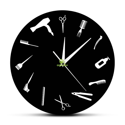 Barber Shop Business Wall Sign Barber Equiment Wall Art Decor Clock Hair Salon Hair Stylist Tools Beauty Salon Modern Wall Clock
