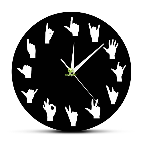 Hand Sign Language Wall Art Hand Gestures Variation Wall Decor Wall Clock Hands Minimalist Design Living Room Modern Wall Clock