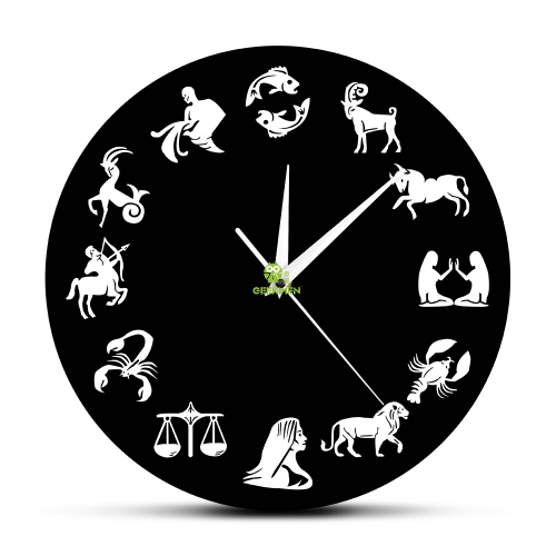 Astrology Art Wall Clock Star Signs Bedroom Nuesery Wall Decor Modern Wall Clock Zodiac Sign Wall Watch Clock Gift