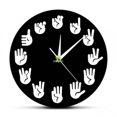 American Sign Language Wall Clock ASL Gesture Modern Clock Watch Equivalents Of The Hours Made Exclusively For The Deaf-mute