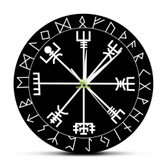 Viking Pagan Asatru Runic Compass Wall Clock Vegvisir Rune Circle Viking Norse Mythology Simple Modern Clock Watch Helm of Awe